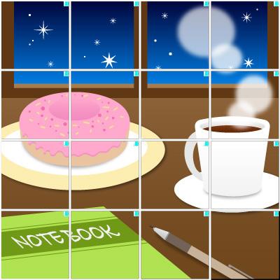 ドーナツ&コーヒー(4×4)