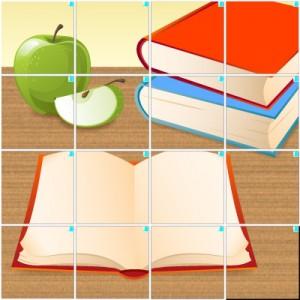 本とリンゴ(4×4)