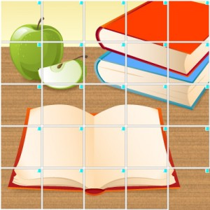 本とリンゴ(5×5)