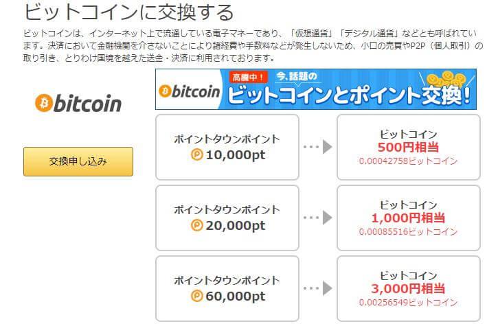 ポイントタウンビットコイン交換