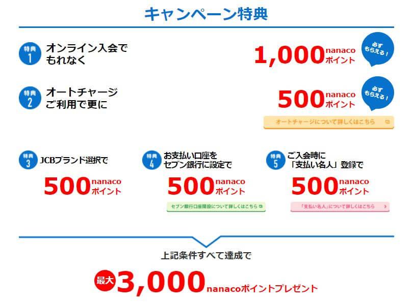 セブンカードキャンペーン3000円